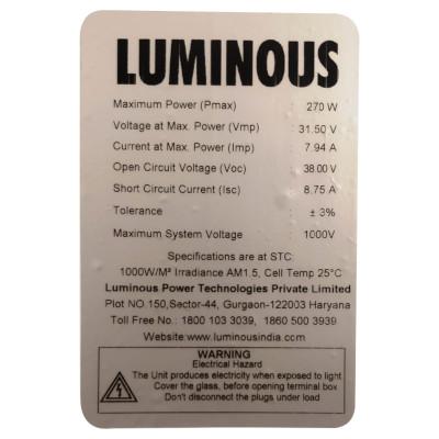 Etiqueta trasera de una panel solar donde se muestras sus especificaciones técnicas.